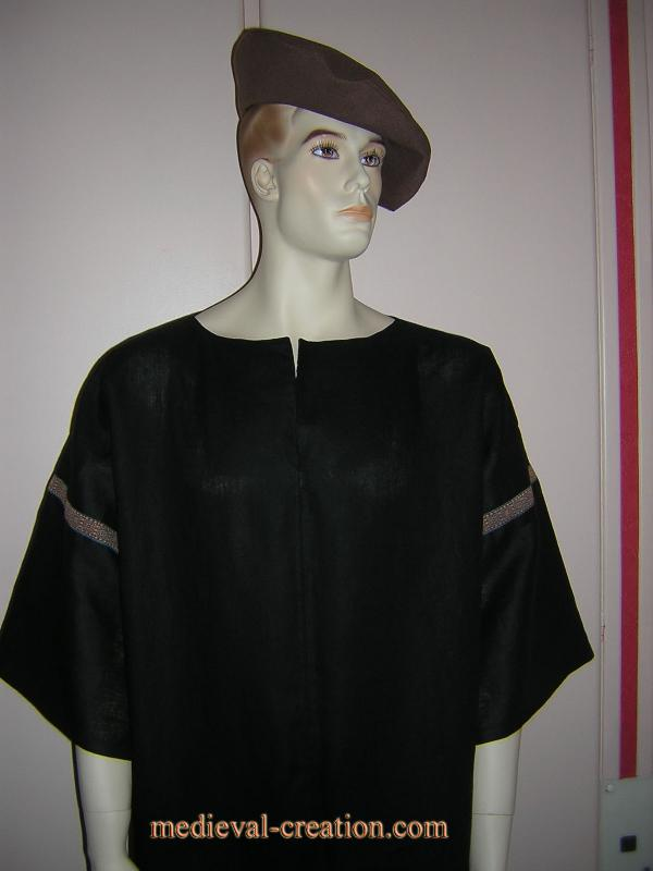 Black Linen Tunic Cotte XXL Lin noir et galon